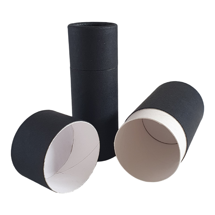 Black push-up cardboard tube with lid off