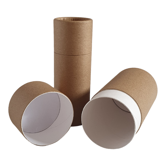 Brown Kraft push-up cardboard tube with lid off