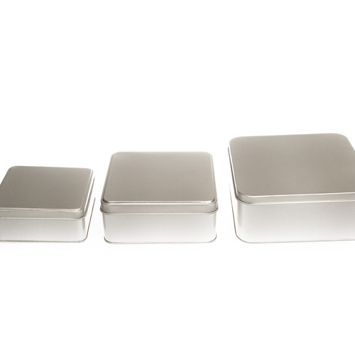 Flat square tins suitable as biscuit or cake packaging