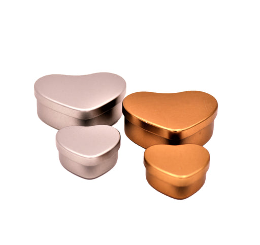 Heart Shaped Silver And Rose Gold Tins