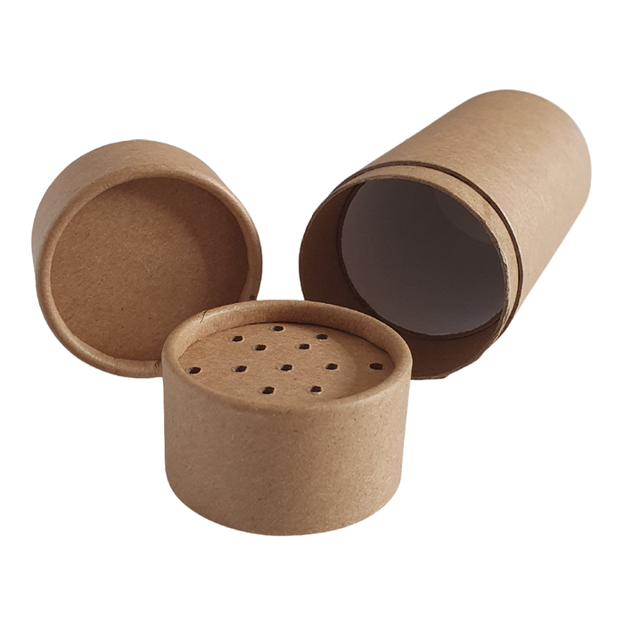 Internal view of the large cardboard shaker tube with lid off