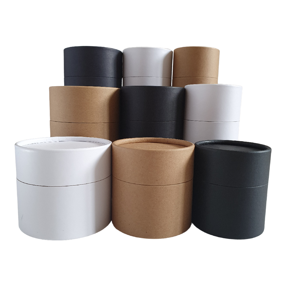 Multipurpose cardboard tubes in black, brown Kraft and white.