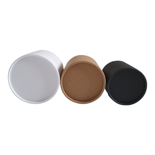 Multipurpose cardboard tubes in black, brown Kraft and white top view