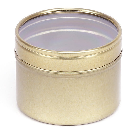 GOLD ROUND SEAMLESS SLIP LID TIN WITH WINDOW