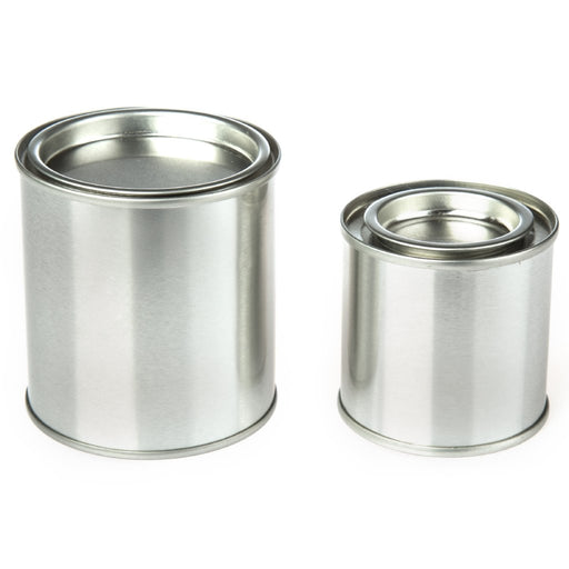 Collection of round paint pot style tins