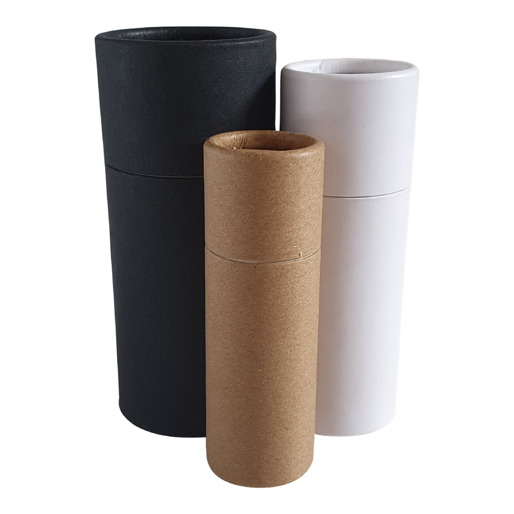 Push-up base cardboard tubes in black, white and brown Kraft