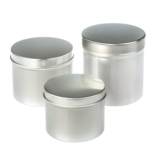 Collection of round aluminium seamless tin containers with slip lids