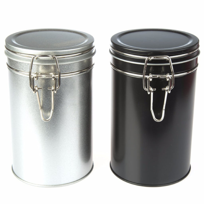 Black and Silver Clip Lid Tins