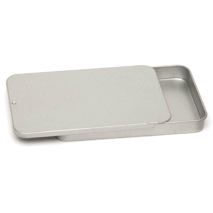 Collection of silver rectangular sliding lid tins