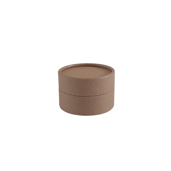 Brown cardboard jar with wax lining for cosmetics