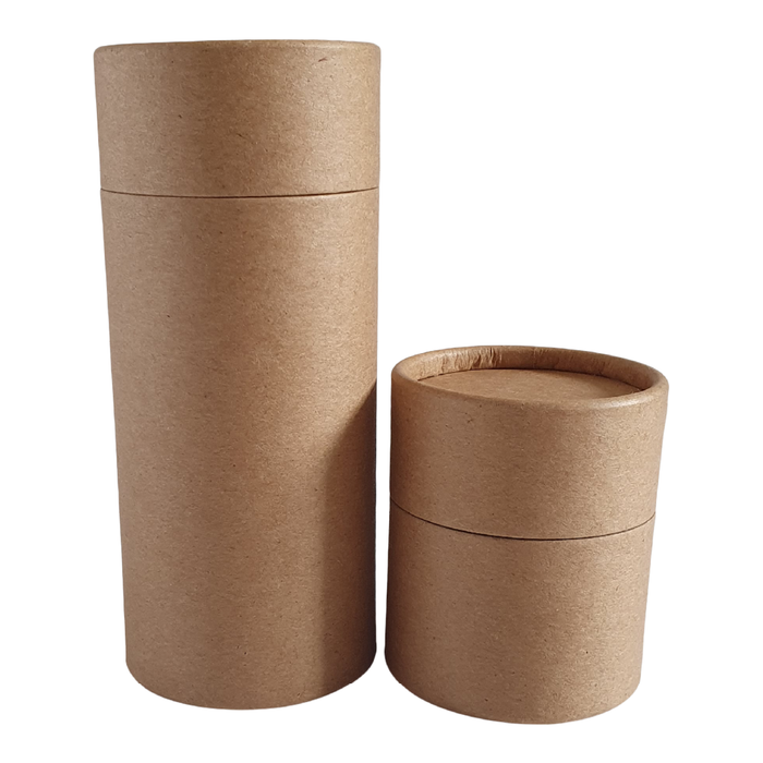Large and small cardboard shaker tube in brown Kraft