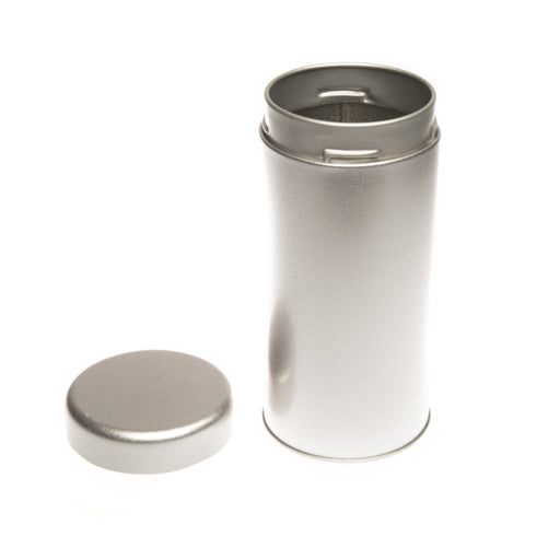 Round silver twist lid tin with lid off