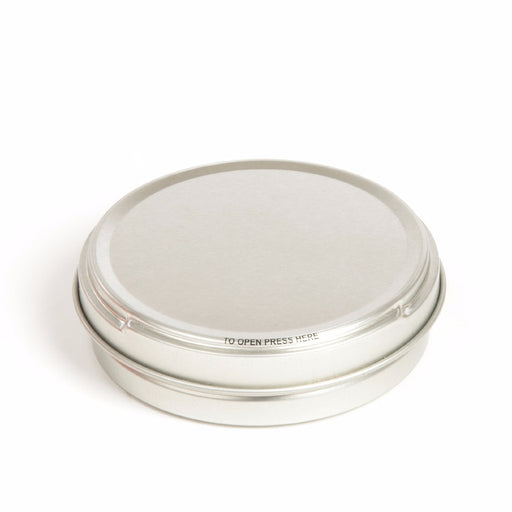 Silver Round Seamless Push to Open Shoe Polish Tin