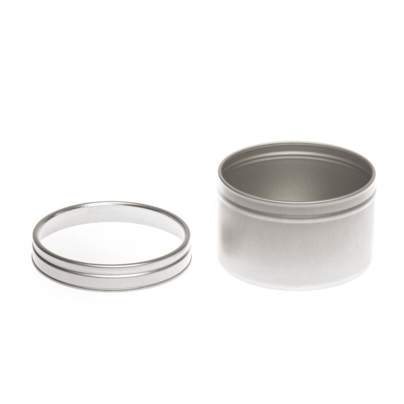 Round silver seamless tin with window slip lid - T0704W