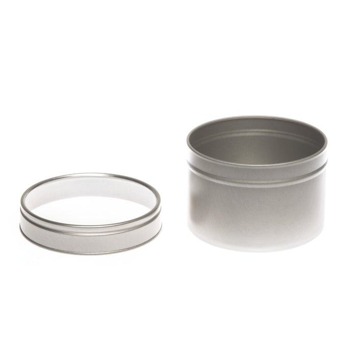 Round silver seamless tin with window slip lid - T0706W