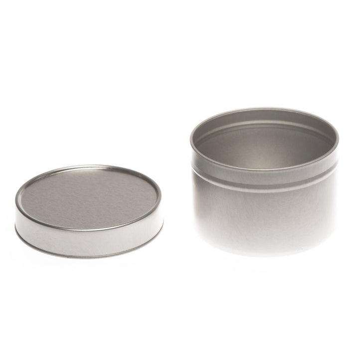 Round silver seamless tin with solid slip lid - T0706