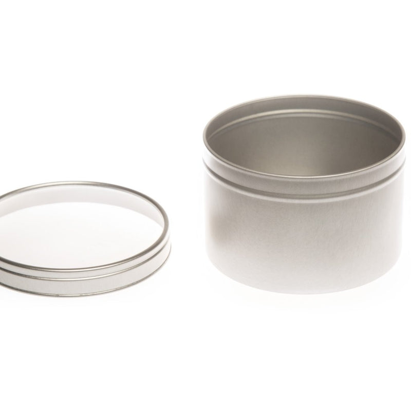 Round silver seamless tin with window slip lid - T0708W