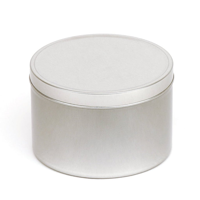 Round silver seamless tin with solid slip lid - T0708