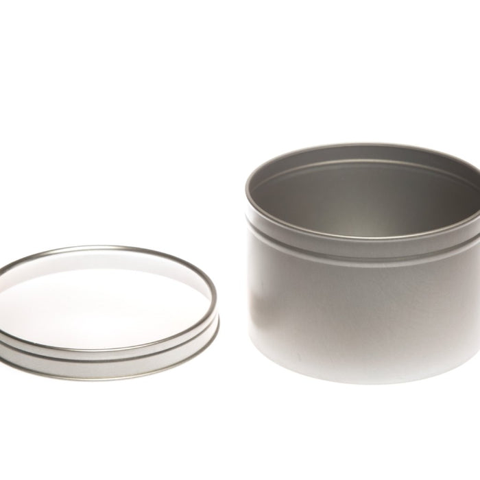 Round silver seamless tin with window slip lid - T0709W