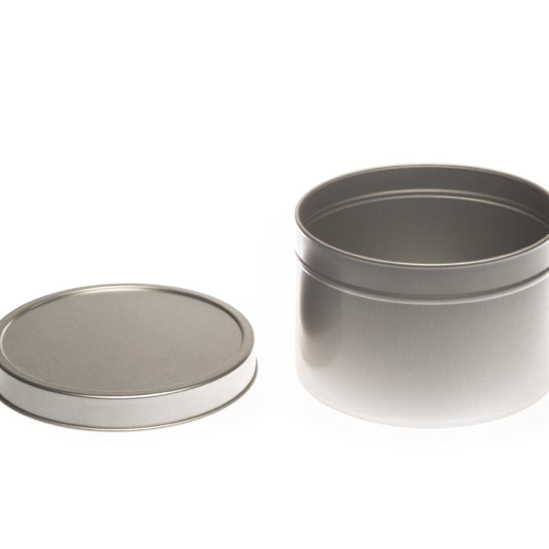 Round silver seamless tin with solid slip lid - T0709