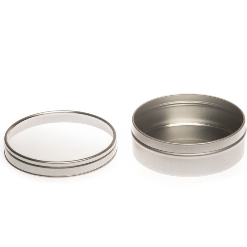 Round silver seamless tin with window slip lid - T0718W