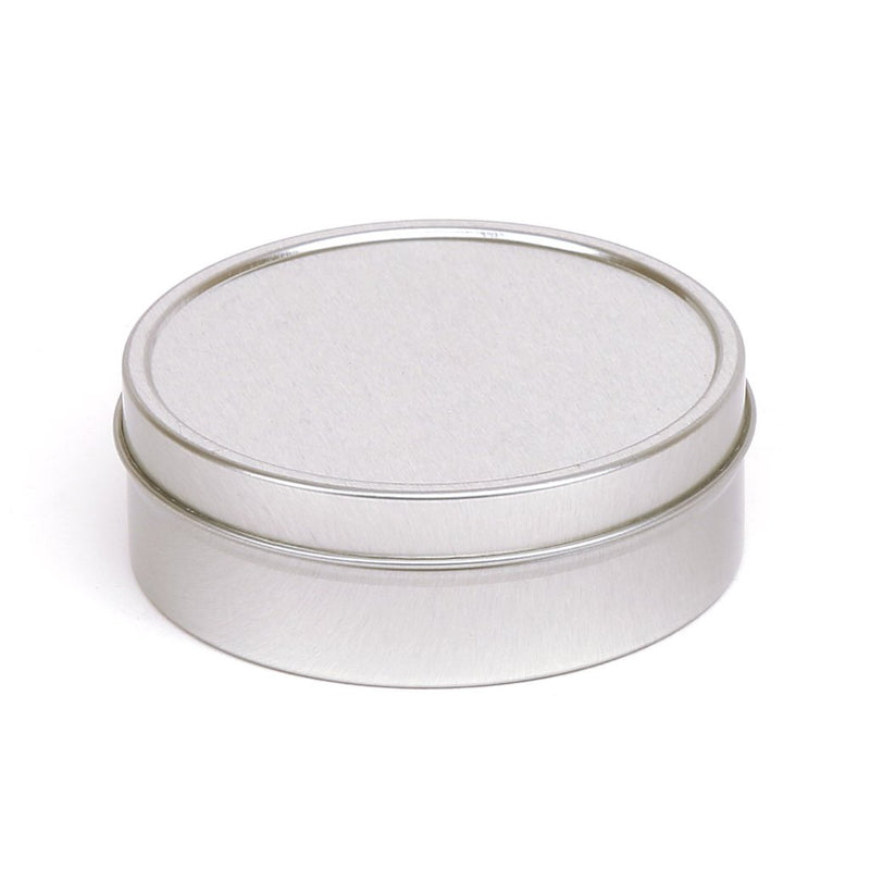 Round silver seamless tin with solid slip lid - T0718