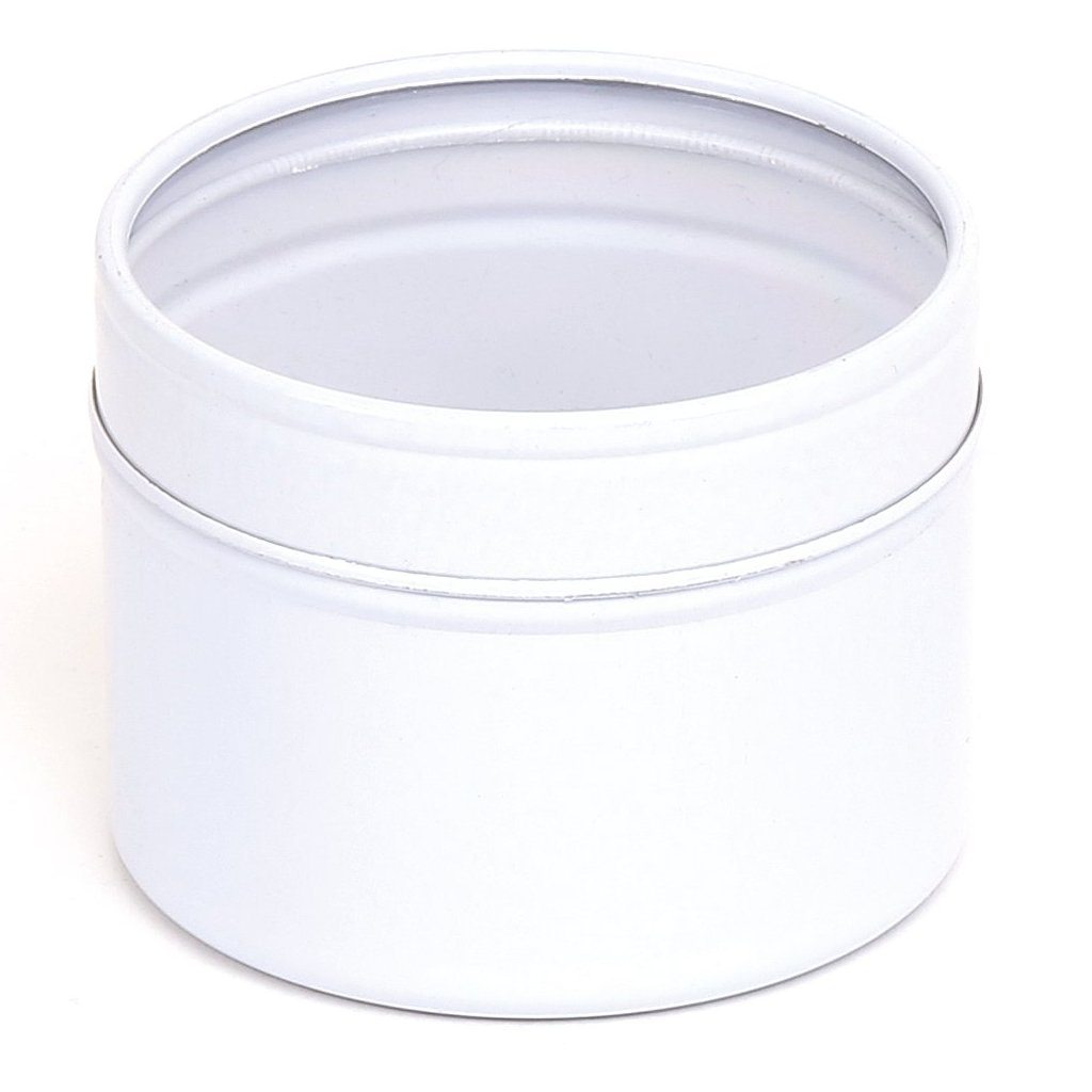 White Round Seamless Window Lid Tins