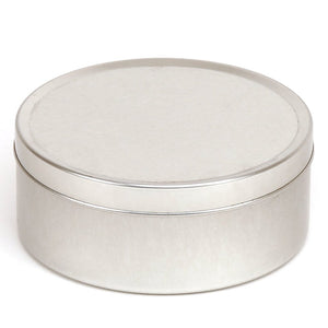 Round silver seamless tin with solid slip lid - T0790