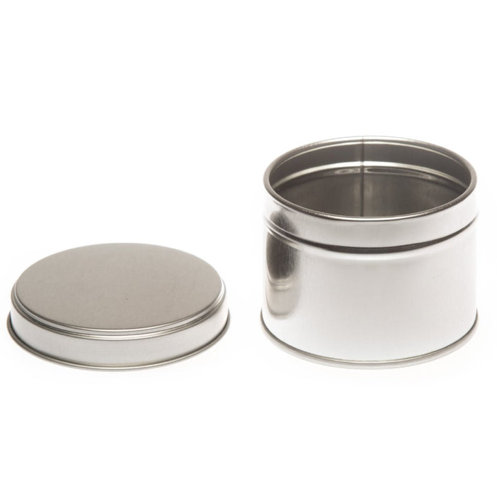 Round Silver welded side seam tins with stepped slip lid - T0856