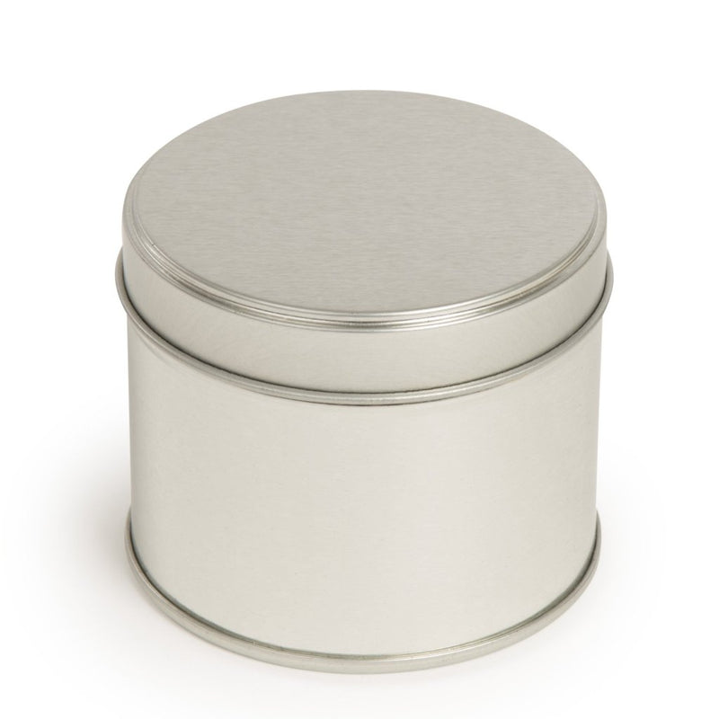 Round silver welded side seam tins with stepped slip lid - T0877