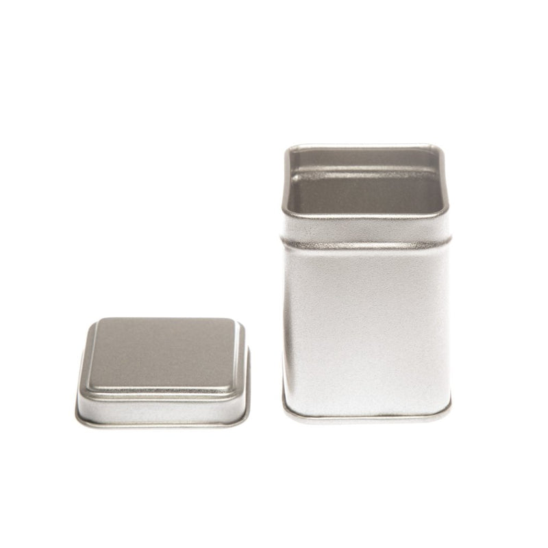Tall Silver Square Tins with Stepped Slip Lid - T1010