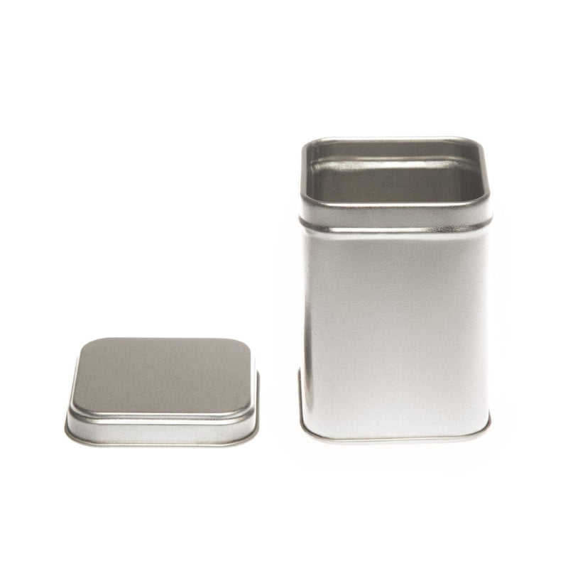 Tall Silver Square Tins with Stepped Slip Lid - T1020