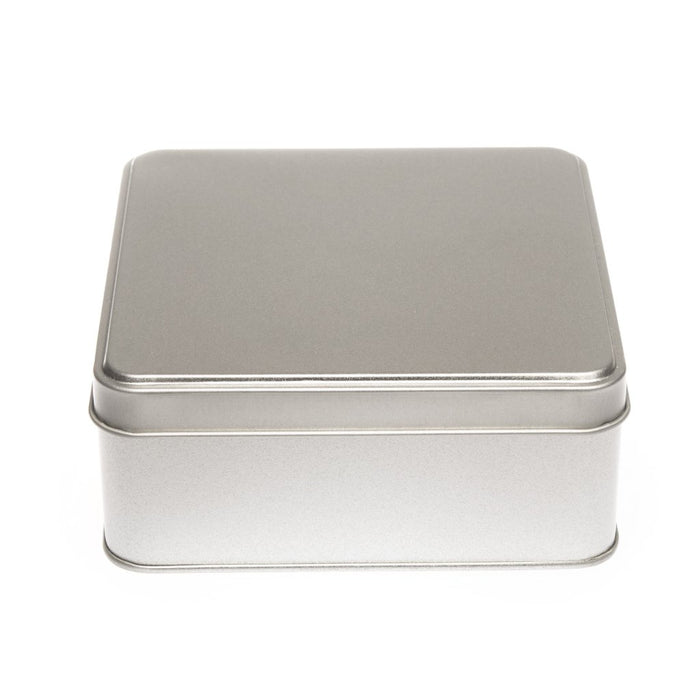 Square Silver Tin with Stepped Lid