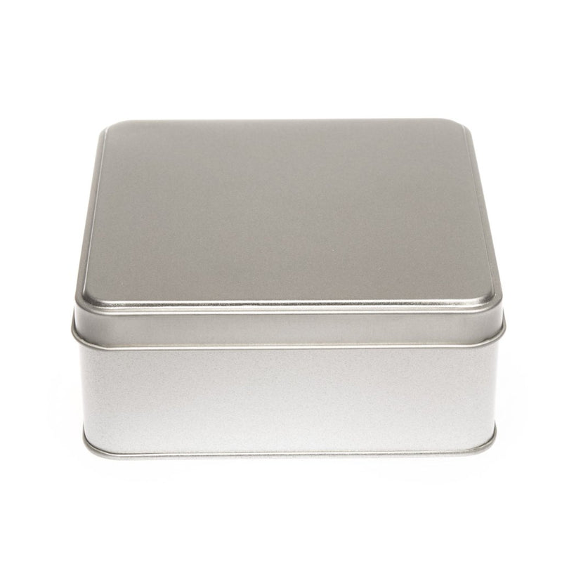 Square Silver Tin with Stepped Lid - T1065