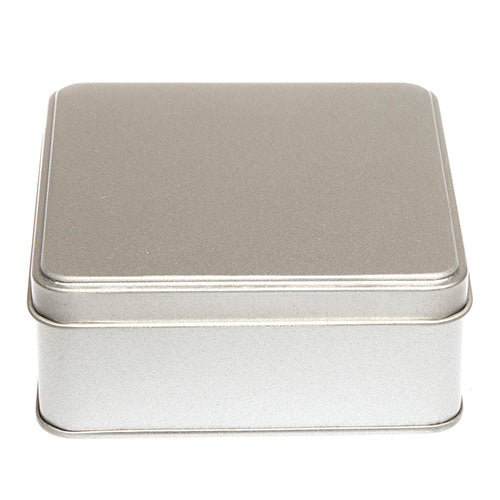 Flat Silver Square Tin with Stepped Lid