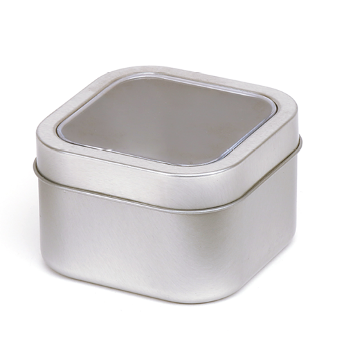 A collection of silver square seamless tins with window slip lid