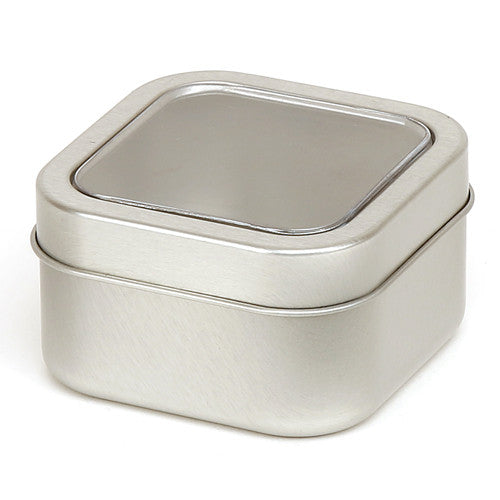 Silver square seamless tins with window slip lid - T1804W