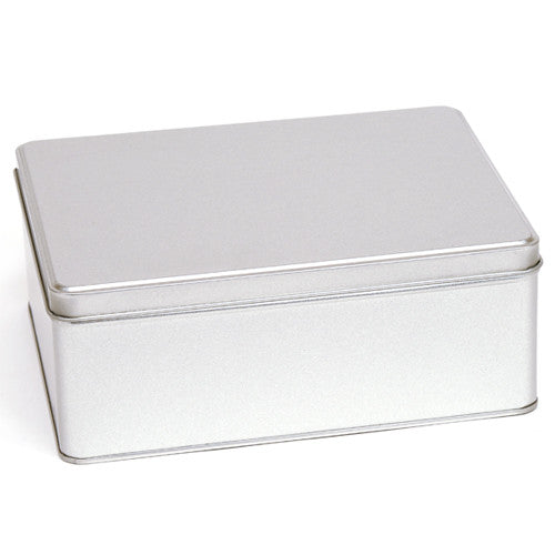 Large silver rectangular tin with a solid lid