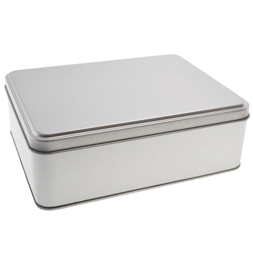 Large silver rectangular tin