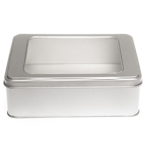 Large silver rectangular tin with a window lid