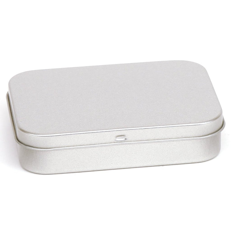 Silver Rectangular Stationery Tin With Solid Hinged Lid