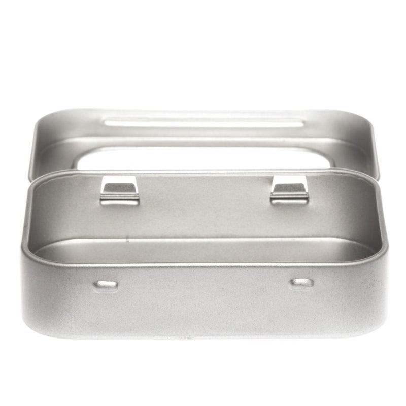 Silver Rectangular Stationery Tin With Window Hinged Lid