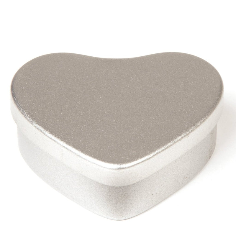 Silver heart shaped tin