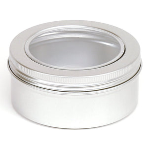 Round aluminium screw window lid container with EPE liner - T9009W