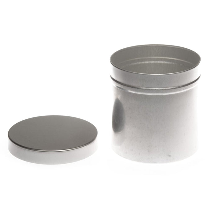 Round aluminium seamless tin container with slip lid - T9245