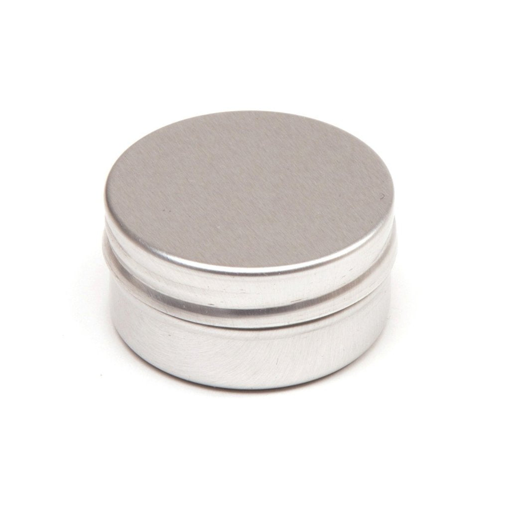 Collection of round aluminium tin containers with smooth lids and EPE liners
