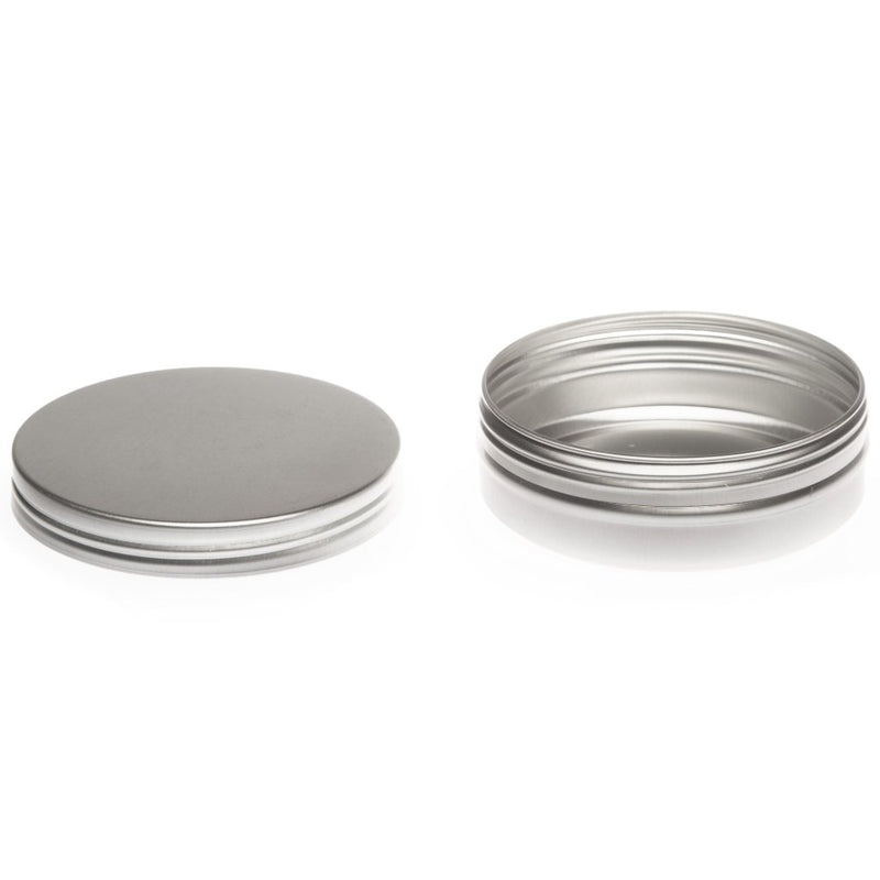 Round aluminium tin container with smooth lid and EPE liner - T9308