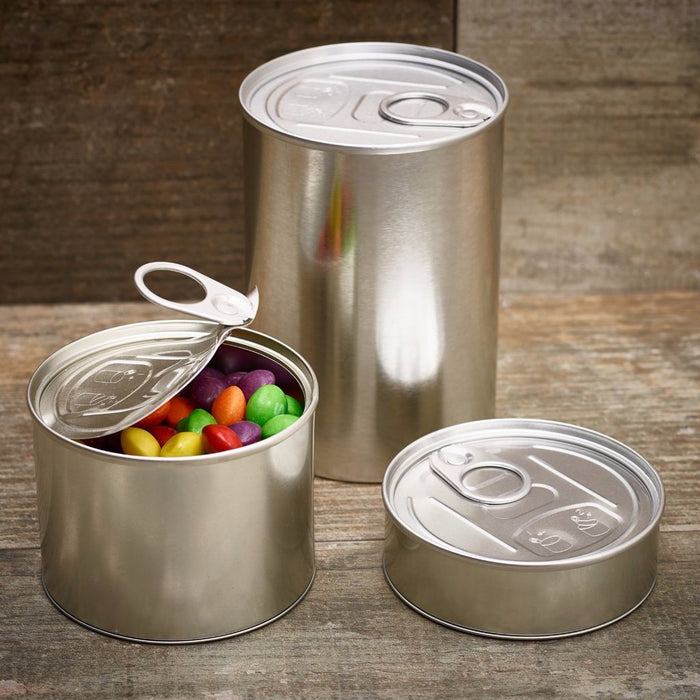 Pressitin™ tin can in small, medium and large sizes