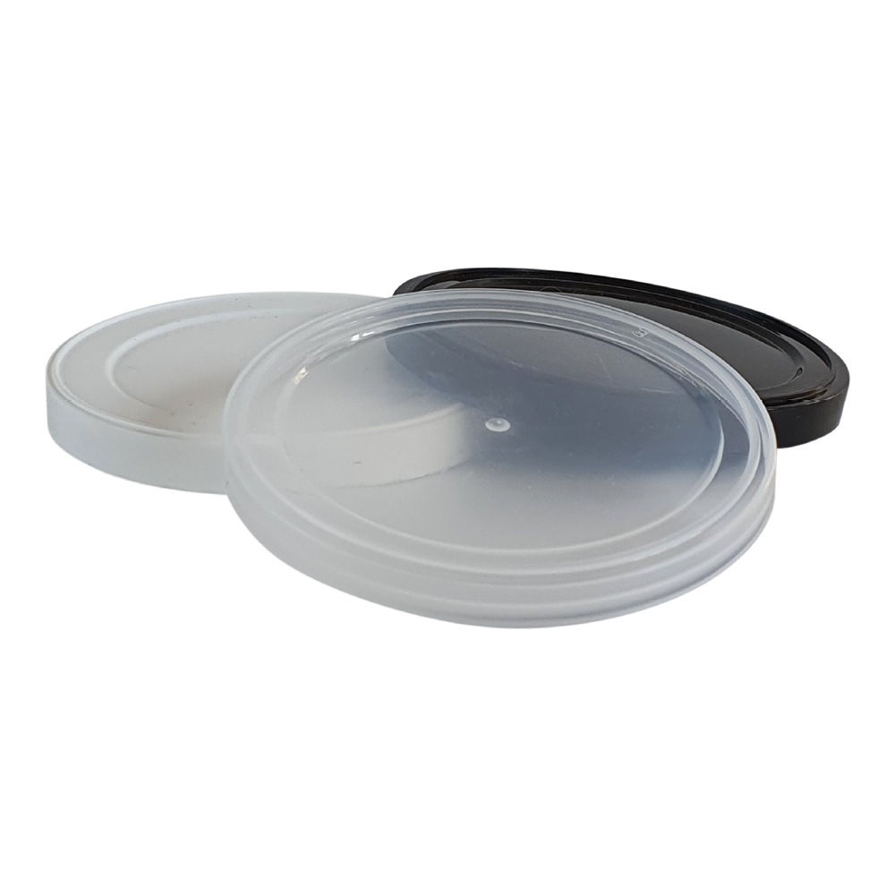 Pressitin™ plastic over cap in white, black and transparent