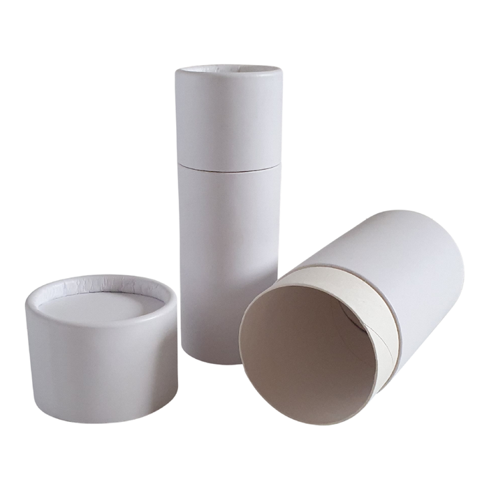 White push-up cardboard tube with lid off